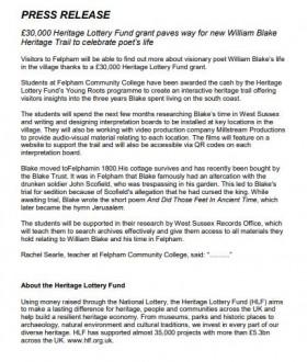 Felpham Press Release