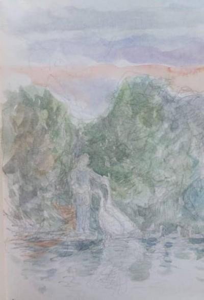 Swan-Man-At-Dusk-by-Helen-Elwes
