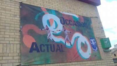 The banner outside the Regis Centre advertising Dr Mikey Georgeson's An Actual Occasion art installation.