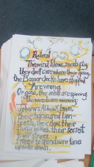 Compiled by Stella Bahin from the Dandelion Visions poetry workshop.