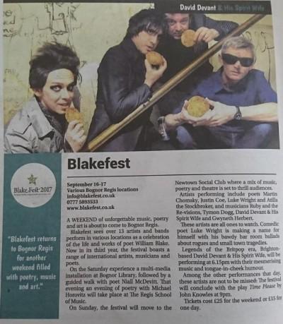 Article in the Bognor Observer 20/10/2017