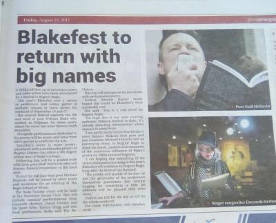 Preview of BlakeFest17 in the Bognor Post