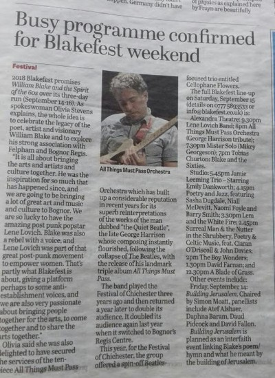 A wonderful preview of 2018's BlakeFest in the Chichester Observer.