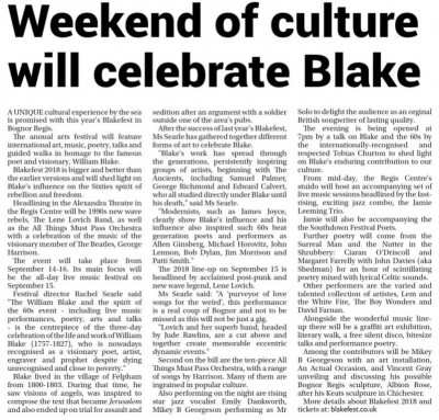 This preview of our 2018 event appeared in the local press.