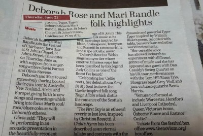A preview of the Deborah Rose and Mari Randle concert for Blakefest at the Festival of Chichester 2017