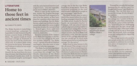 William Blake's Cottage Sale featured in the Independent
