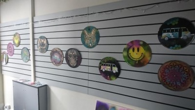 Sarah Gillings from U CAN Spray's fantastic bright and colourful vinyl art as displayed at our December 2019 pop-up Art Gallery.