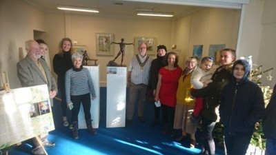 The official opening of the Pop-up art gallery by Bognor Mayor Cllr Phil Woodall with some attendees and BlakeFest organisers.