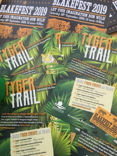 Fliers advertising the FREE children's Tyger trail which would lead them on a Blake Trail around the town followed by free facepainting. Supported by Bognor BID and featuring the wonderful Face painting by the very talented BodyArtist Elissa Barrett.