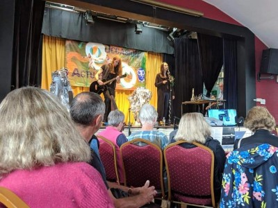 The musical act at Unpacking Blake, held at Felpham Memorial Hall