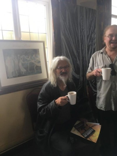 Stephen Micalef enjoying a cup of tea attending Unpacking Blake, at Blakefest 2019, held at Felpham Memorial Hall. Including an art exhibition featuring installations by Dr Mikey Georgeson, live music from Across The Sea and a panel of speakers presenting different aspects of William Blake's visionary genius.