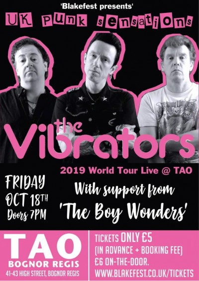 Once again, the Legendary punk band The Vibrators played a fundraiser gig for us, this time at Bognor's TAO bar in 2019. Support came from The Boy Wonders.